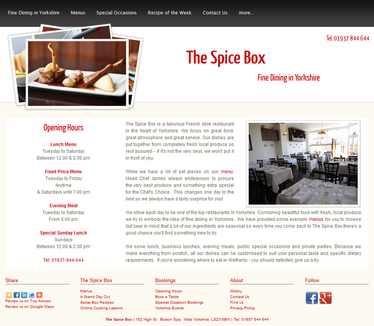 The Spice Box, Boston Spa - Website
